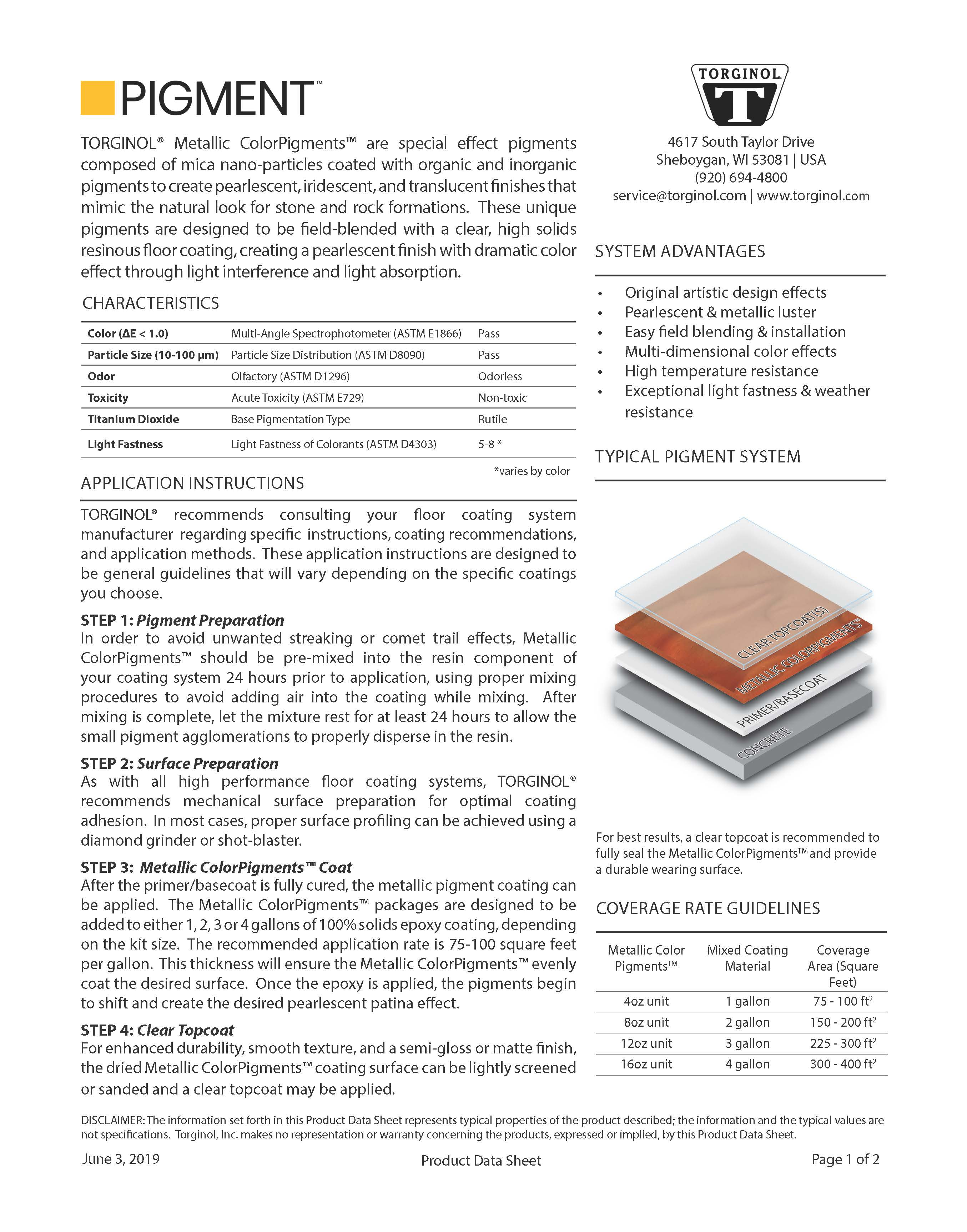 PIGMENT Technical Data Sheet