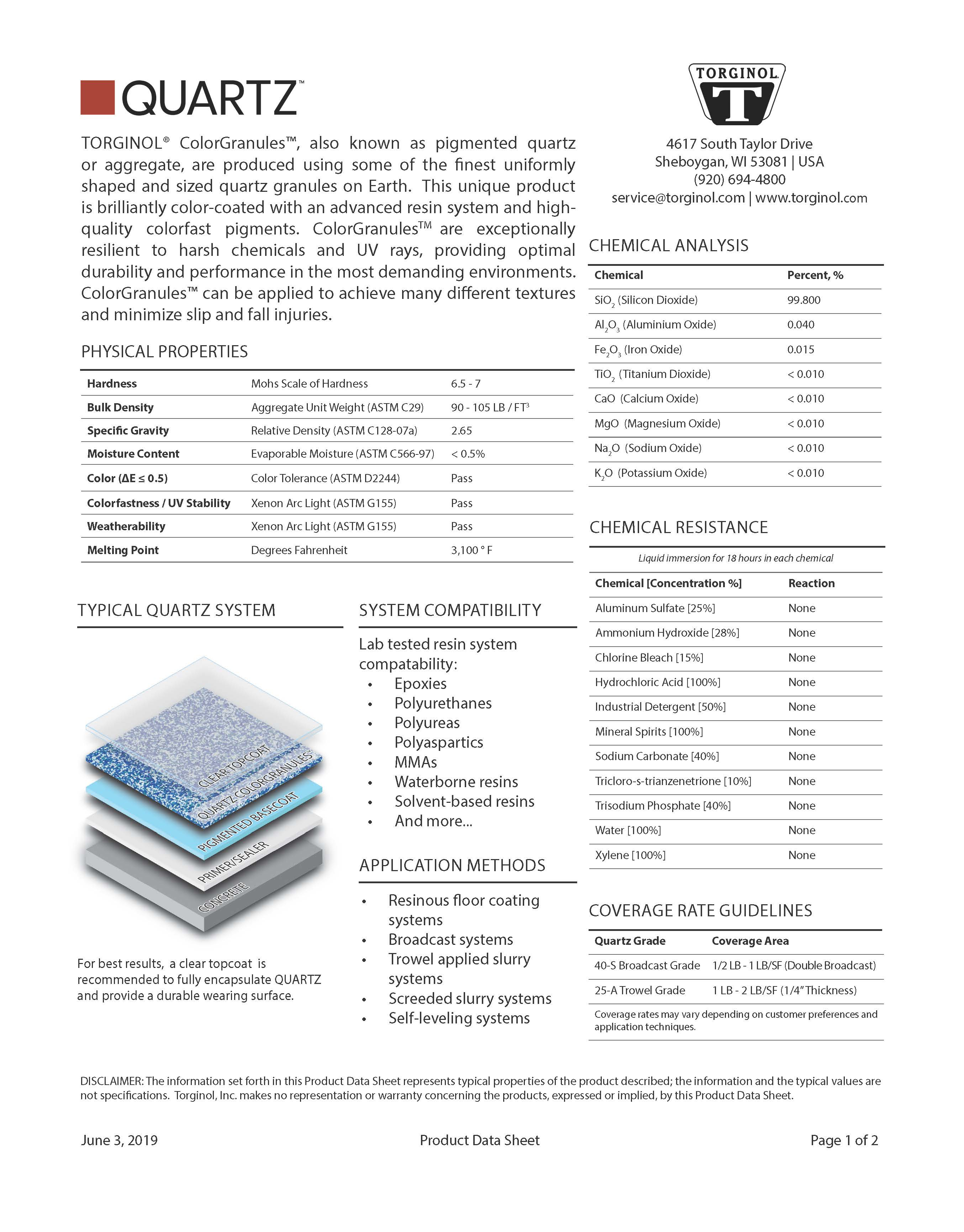 QUARTZ Technical Data Sheet