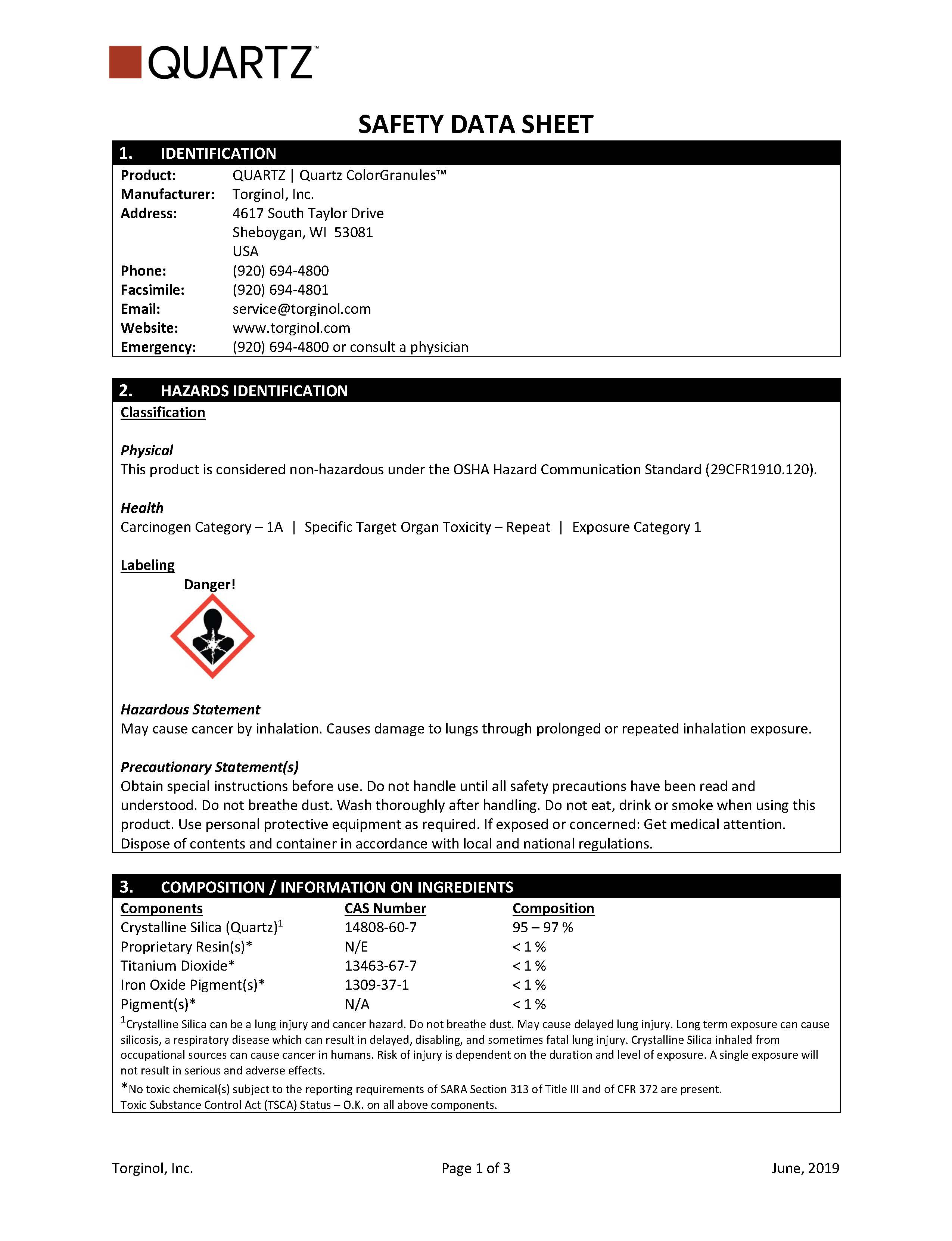 QUARTZ Safety Data Sheet