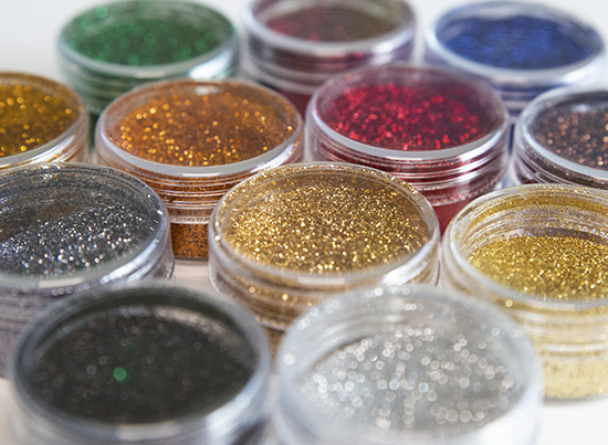 glitter powder jars