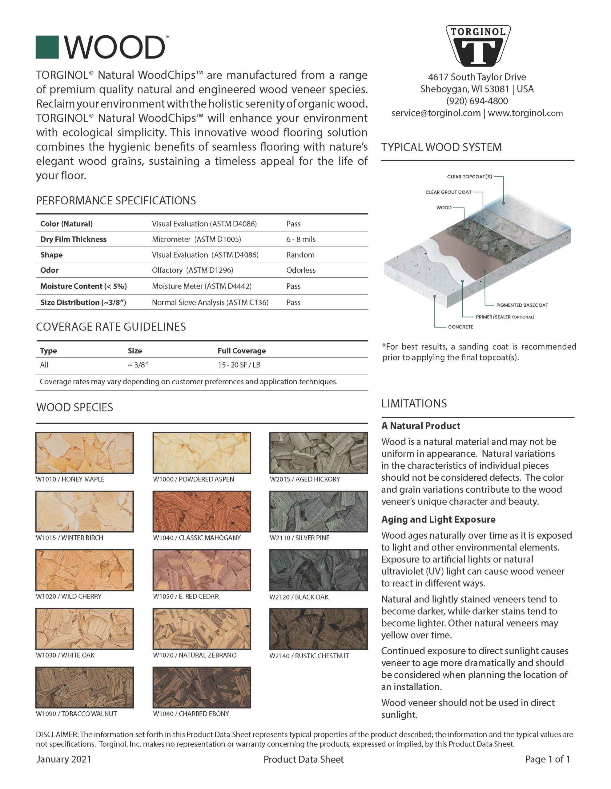 WOOD Technical Data Sheet